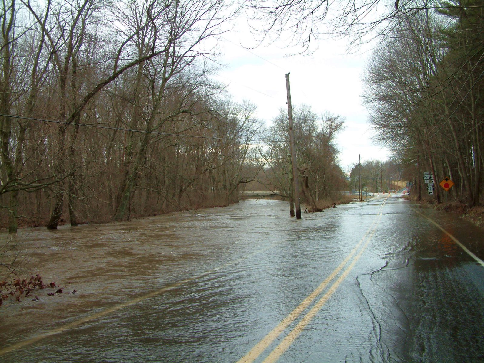 The end of the flooded Clarks Valley Road
