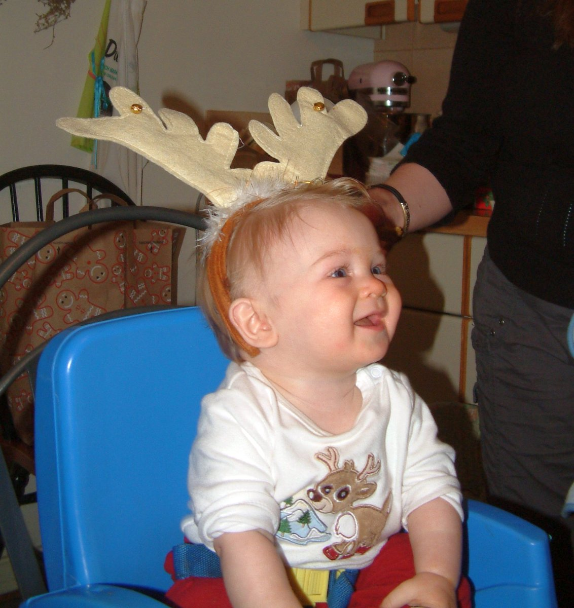 Lil' Dylan with his reindeer antlers
